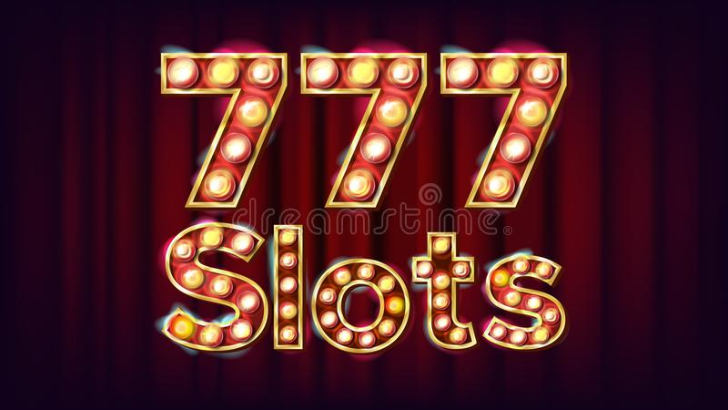 777 slots Banner Vector. Casino Vintage Style Illuminated Light. For Advertising Design. Classic Illustration stock illustration