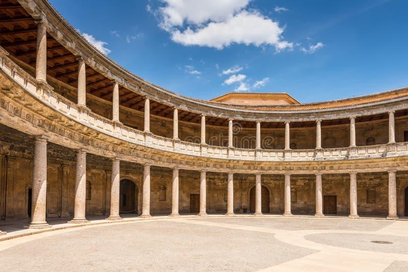 Slott av Charles V i Granada, Spanien royaltyfri bild