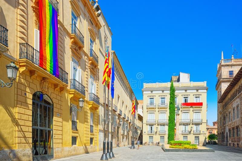 Slott av den Generalitat regeringen av Valencia på fyrkantig man royaltyfri foto