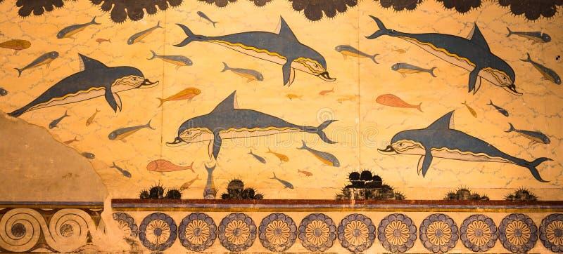 Slott av den Knossos delfinfreskomålningen i Kreta, Grekland royaltyfria bilder