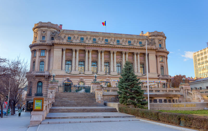 Slott av den nationella militära cirkeln, Bucharest, Rumänien arkivbilder