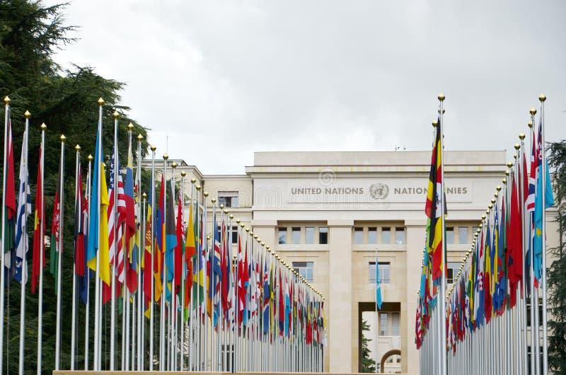 Slott av Förenta Nationerna i Genève, Schweiz royaltyfria bilder