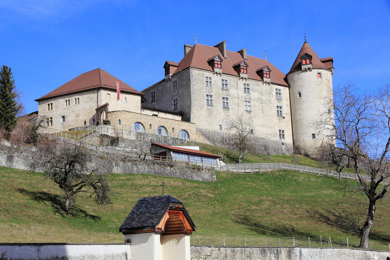Slott av gruyère i Schweiz arkivfoto