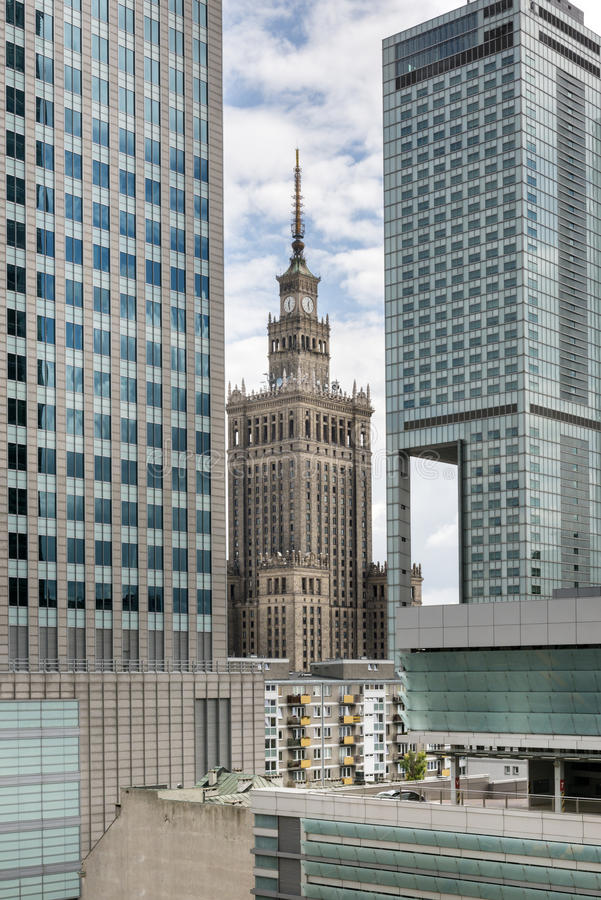 Slott av kulturbyggnad, Warszawa, Polen arkivbilder