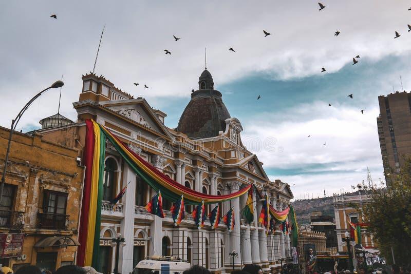 Slott av regeringen i La Paz, Bolivia royaltyfri fotografi