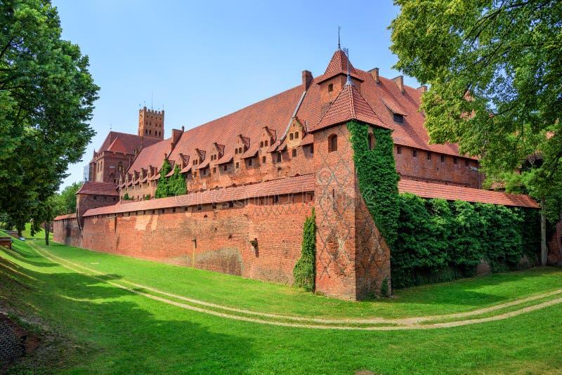 Slott av Teutonic riddarebeställning i Malbork, Polen arkivfoton