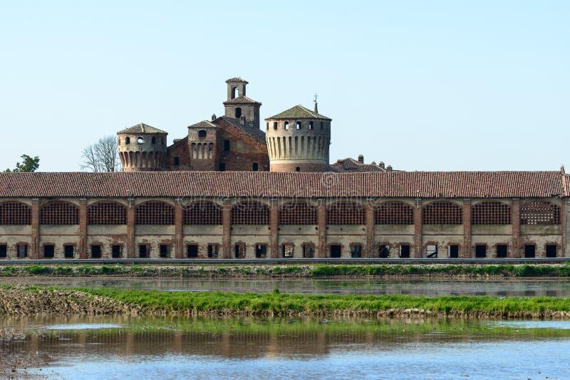 Slott av Valeggio med risfält, Lomellina (det royaltyfria bilder