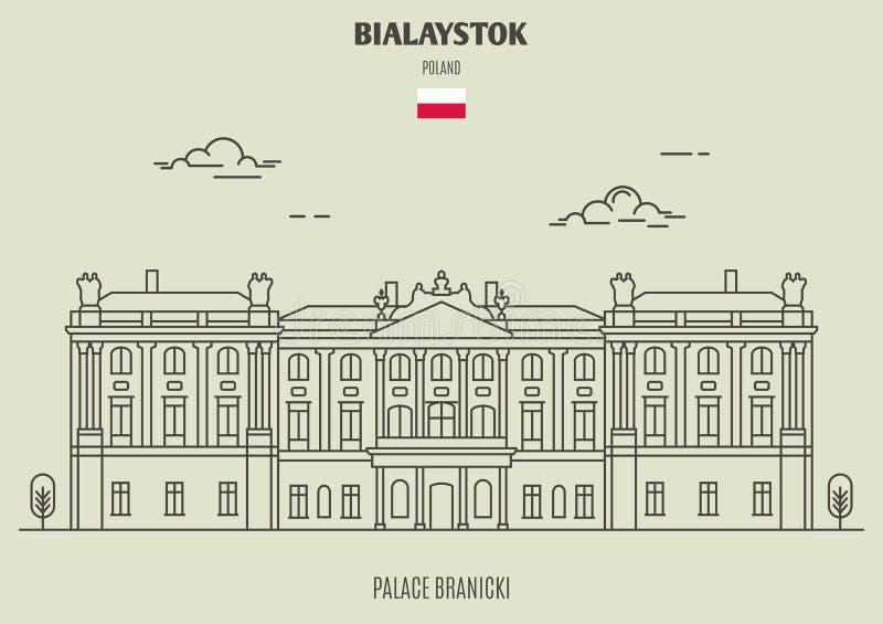Slott Branicki i Bialystok, Polen Gränsmärkesymbol vektor illustrationer
