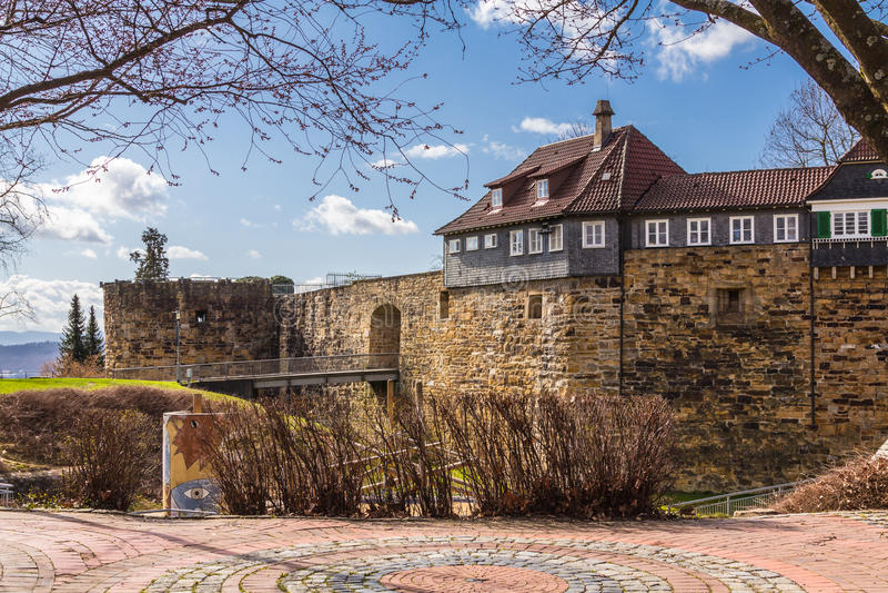 Slott Esslingen - Esslinger småstad royaltyfria bilder