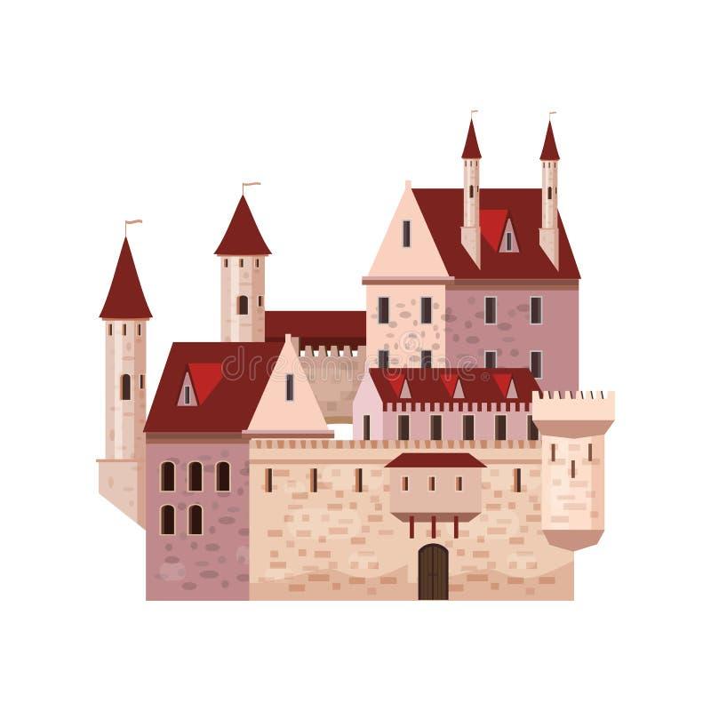 Slott fästning, forntida, för arkitektur mellersta åldrar Europa, medeltida slott med höga torn och koniska tak, vektor