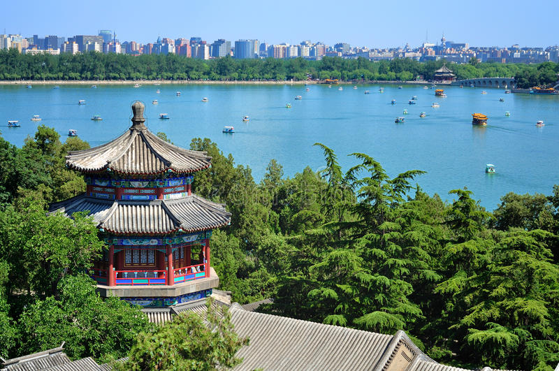 Slott för Beijing cityscape-sommar lake royaltyfria bilder