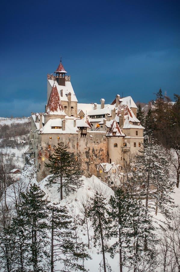 Slott för Dracula ` s i vinter fotografering för bildbyråer