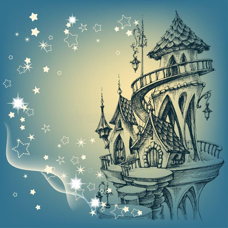 Slott för jultomten` s vektor illustrationer