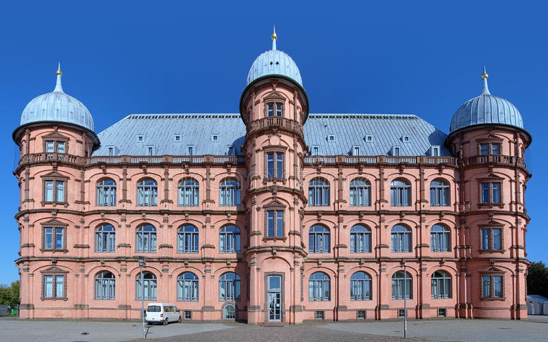 Slott Gottesaue i Karlsruhe, Tyskland arkivbild