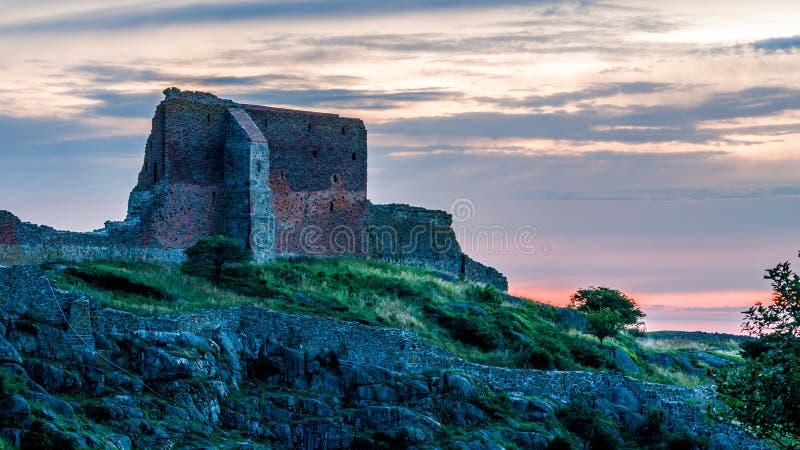 Slott Hammershus på Bornholm, Danmark fotografering för bildbyråer