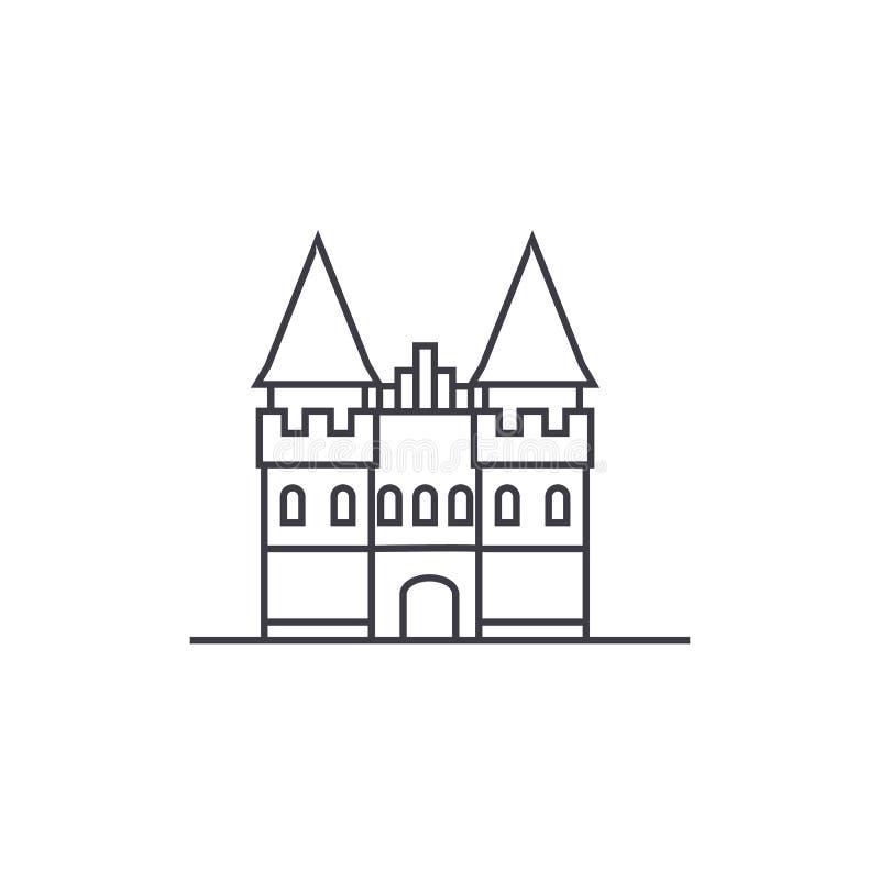 Slott i den Europa vektorlinjen symbol, tecken, illustration på bakgrund, redigerbara slaglängder royaltyfri illustrationer