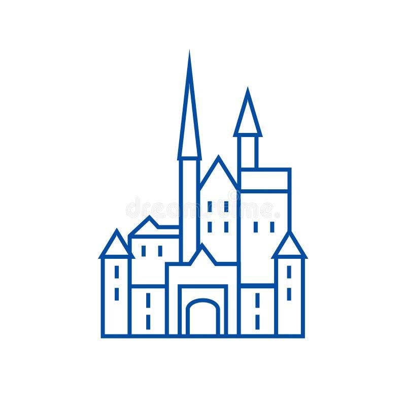 Slott i den Tyskland linjen symbolsbegrepp Slott i Tyskland det plana vektorsymbolet, tecken, översiktsillustration stock illustrationer