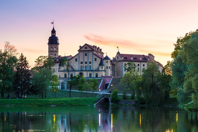 Slott i Nesvizh, Minsk region, Vitryssland arkivfoton