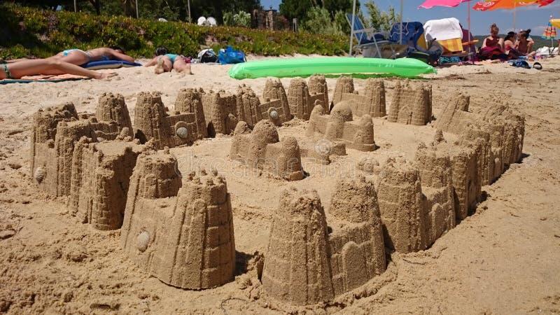 Slott i sanden royaltyfria foton