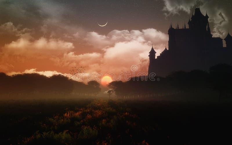 Slott i solnedgången stock illustrationer