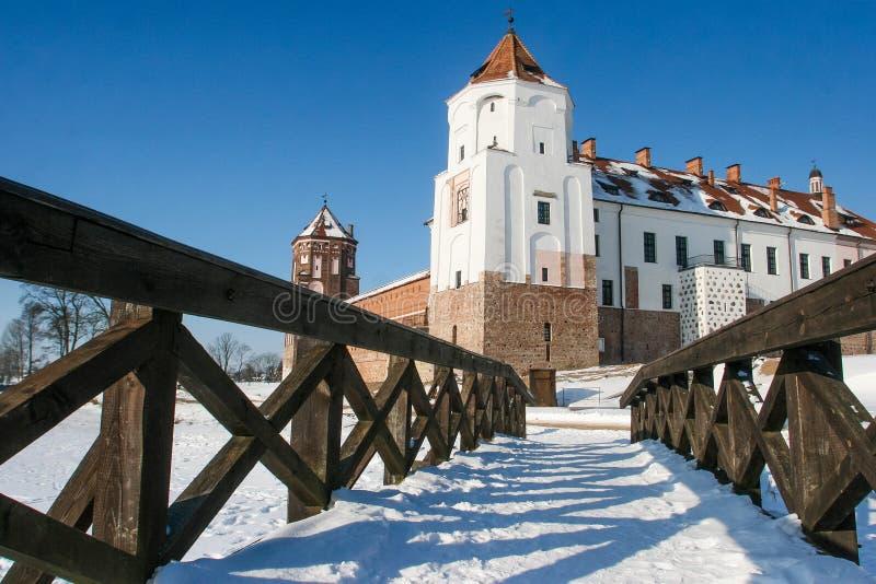 Slott i staden Mir av Vitryssland Medeltida Mir-slott arkivfoto
