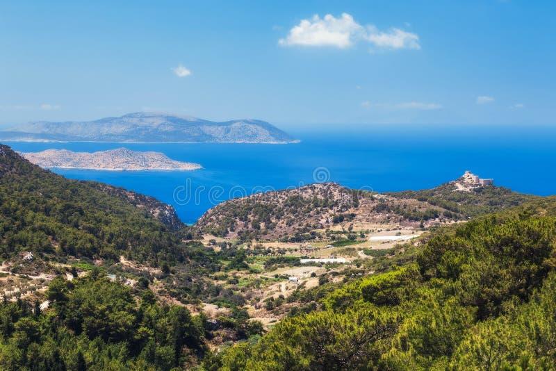 Slott Kritinia Rhodes ö Grekland royaltyfria foton