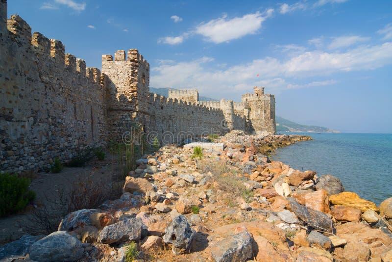 Slott Mamure Kalesi i Anamur, Turkiet arkivfoto