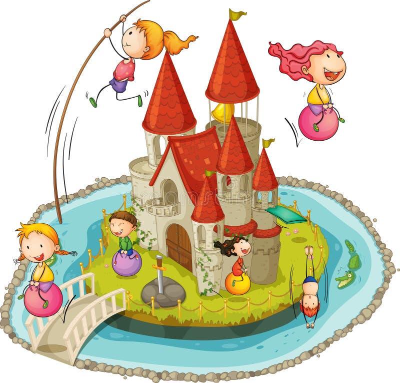 Slott och barn royaltyfri illustrationer