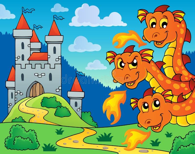 Slott och lura drakehuvud stock illustrationer
