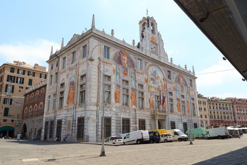 Slott Palazzo San Giorgio nära Porto Antico, Genua royaltyfri foto