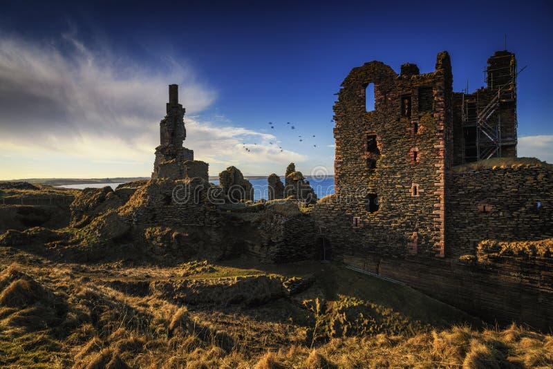 Slott Sinclair Girnigoe, östlig kust av Skotska högländerna arkivbild