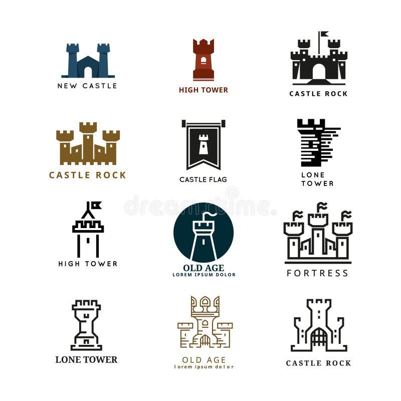 Slott uppsättning för fästningvektorlogo stock illustrationer