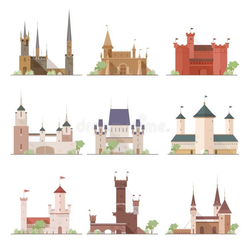Slottar och fästninguppsättning Plan samling för illustrationer för tecknad filmstilvektor royaltyfri illustrationer