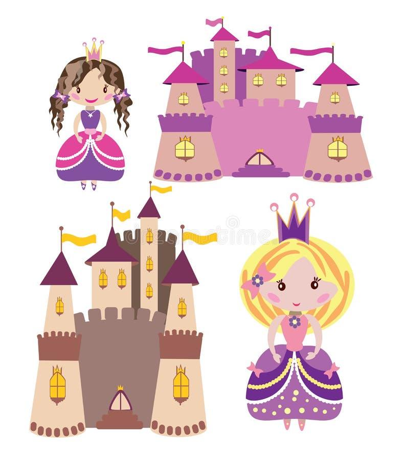 Slottar och prinsessauppsättning arkivbilder