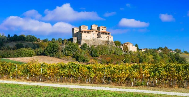 Slottar och vingårdar av Italien - medeltida Castello di Torrechiar fotografering för bildbyråer