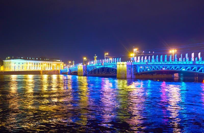 Slottbron på natten, St Petersburg, Ryssland arkivfoto