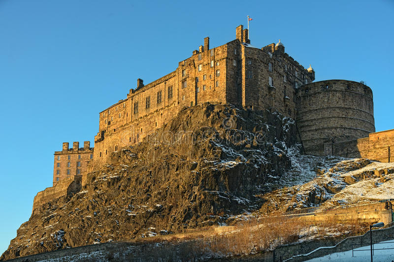 slottedinburgh ljus scotland uk vinter royaltyfria bilder