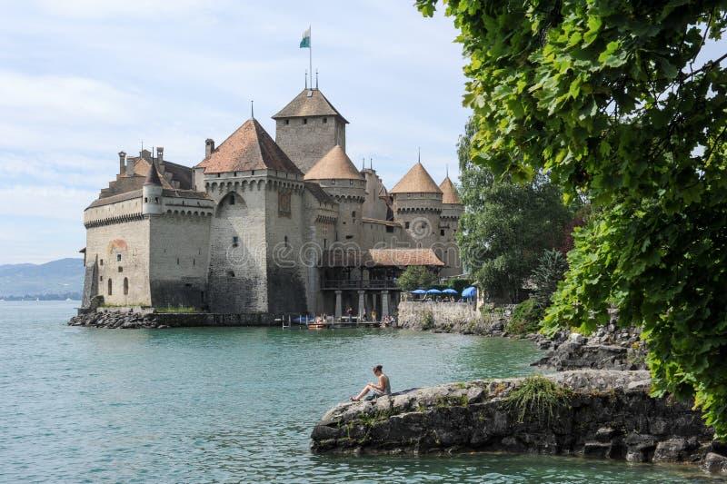 Slotten av Chillon i Montreux, Schweiz arkivfoto