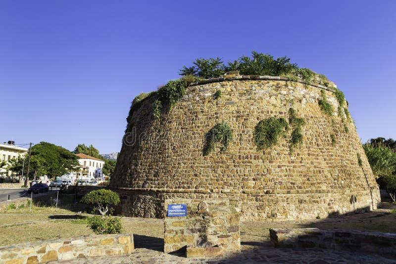 Slotten av Chios är en medeltida citadell i den Chios staden, Grekland arkivfoto