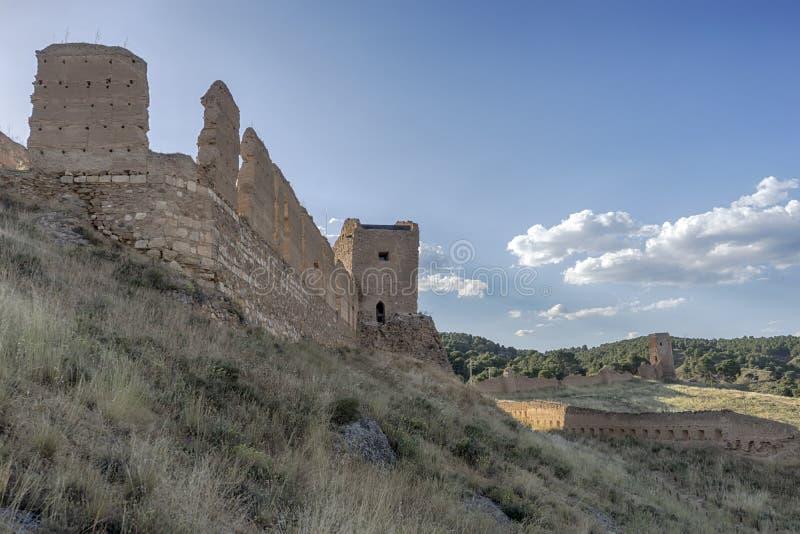 Slotten av Daroca i landskapet av Zaragoza, Spanien royaltyfri foto