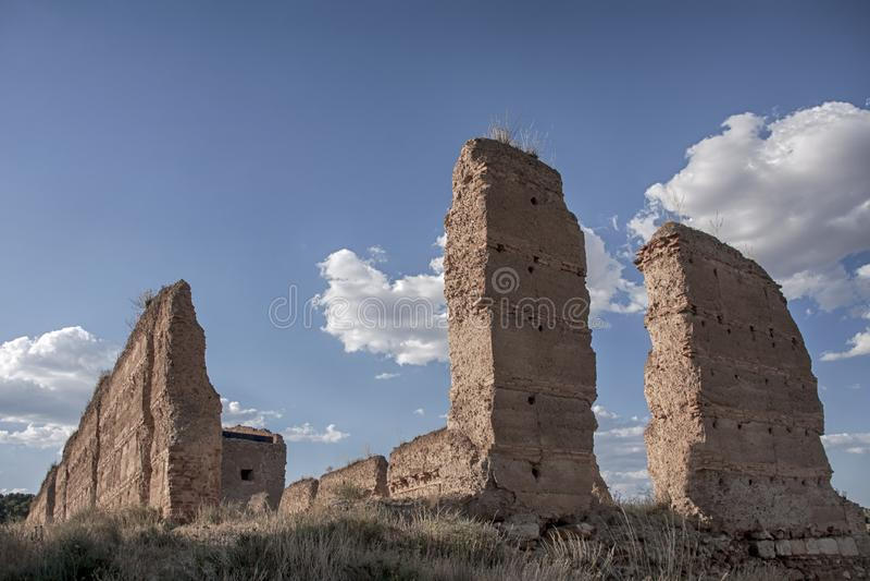 Slotten av Daroca i landskapet av Zaragoza, Spanien arkivbilder