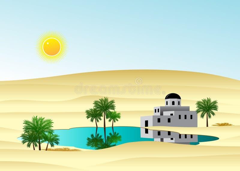 Slotten i öknen royaltyfri illustrationer