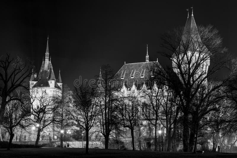 Slotten i staden parkerar av Budapest vid nattljusen Budapest arkivbild