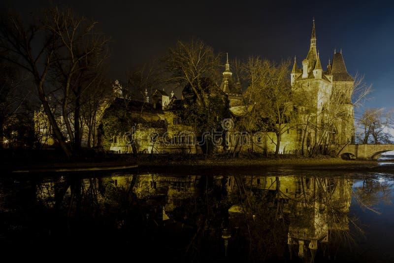 Slotten i staden parkerar av Budapest vid nattljusen Budapest royaltyfri fotografi