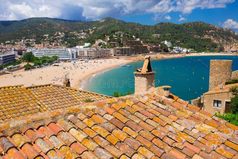 Slottet beskådar i Tossa de Fördärva, costaen Brava, Spanien royaltyfria foton