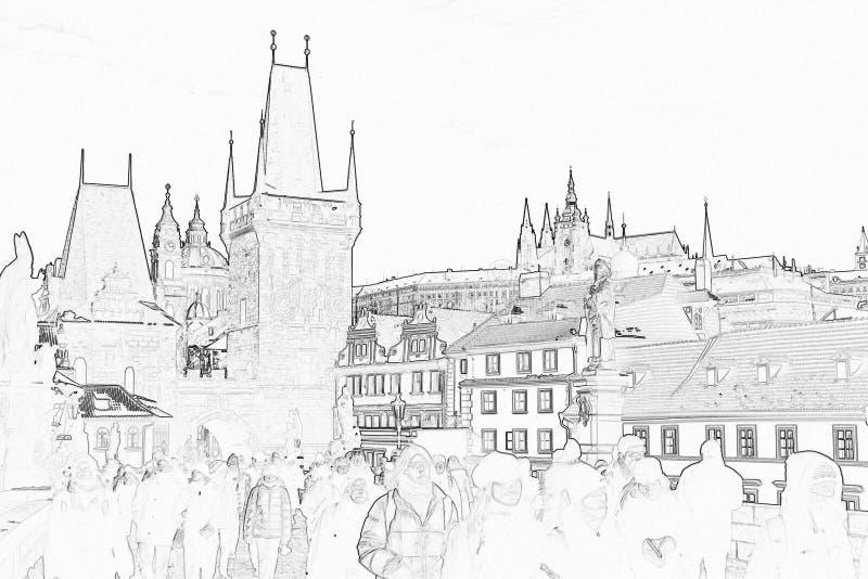 Download Slottet prague skissar stock illustrationer. Illustration av huvud - 503993
