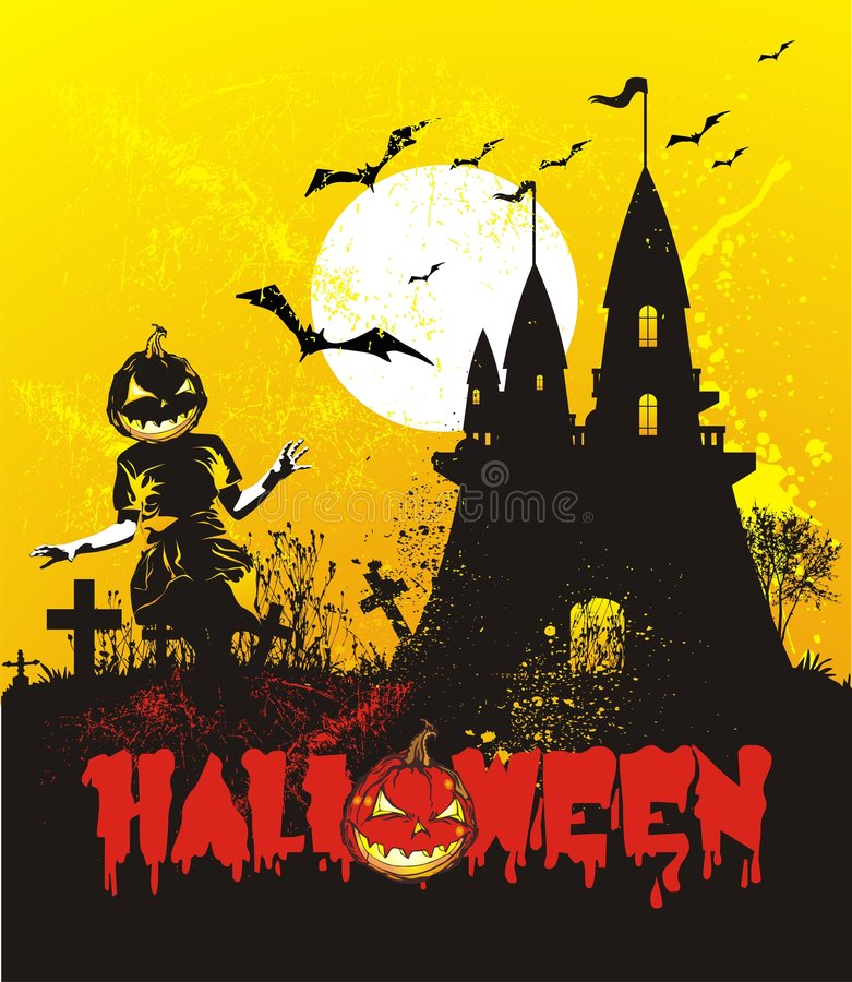 slotthalloween illustration stock illustrationer