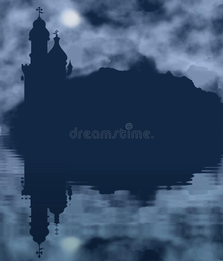 Slottkontur och måne med vattenreflexion stock illustrationer