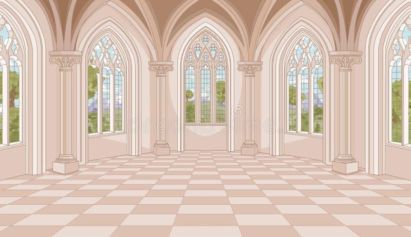 Slottkorridor stock illustrationer