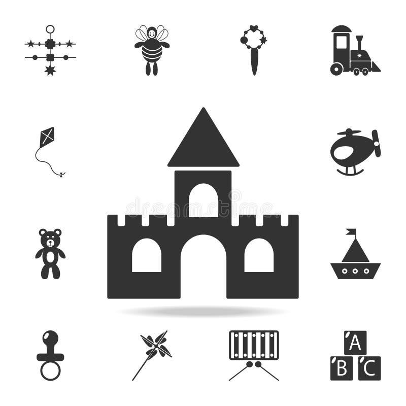 Slottleksaksymbol Den detaljerade uppsättningen av behandla som ett barn leksaksymboler Högvärdig kvalitets- grafisk design En av royaltyfri illustrationer
